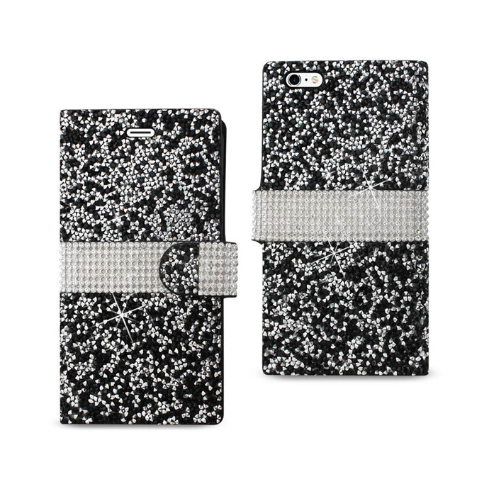Reiko Iphone 6 Plus Diamond Rhinestone Wallet Case In Black