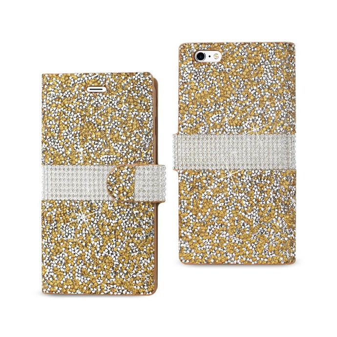 Reiko Iphone 6 Plus Diamond Rhinestone Wallet Case In Gold