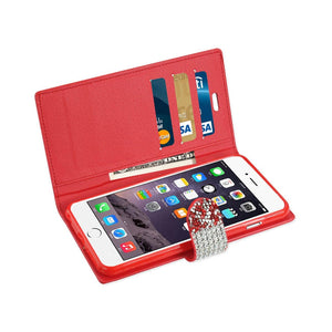 Reiko Iphone 6 Plus Diamond Rhinestone Wallet Case In Red