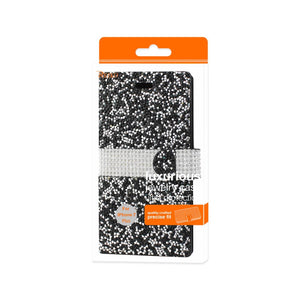 Reiko Iphone 7 Plus Diamond Rhinestone Wallet Case In Black