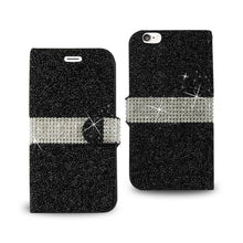 Load image into Gallery viewer, Reiko Iphone 6 Diamond Rhinestone Wallet Case In Black