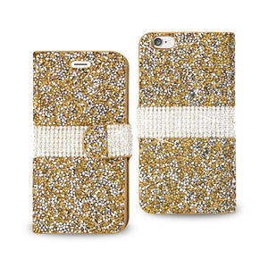 Reiko Iphone 6 Diamond Rhinestone Wallet Case In Gold