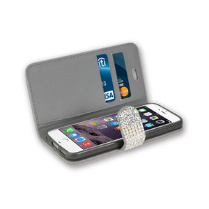 Reiko Iphone 6 Diamond Rhinestone Wallet Case In Silver