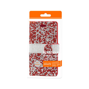 Reiko Iphone 7 Jewelry Rhinestone Wallet Case In Red