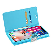Load image into Gallery viewer, Reiko Iphone X Diamond Rhinestone Wallet Case In Blue