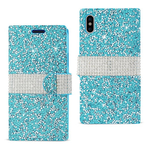 Reiko Iphone X Diamond Rhinestone Wallet Case In Blue