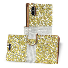 Load image into Gallery viewer, Reiko Iphone X Diamond Rhinestone Wallet Case In Gold
