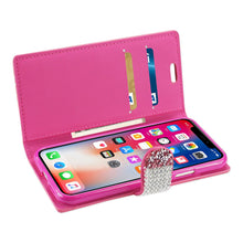 Load image into Gallery viewer, Reiko Iphone X Diamond Rhinestone Wallet Case In Pink