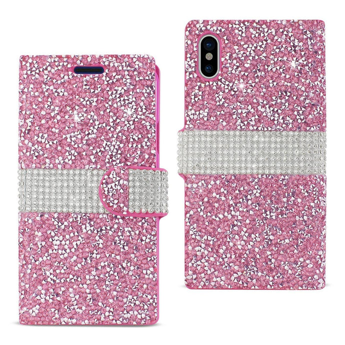 Reiko Iphone X Diamond Rhinestone Wallet Case In Pink