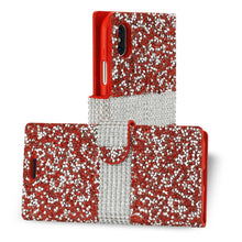 Load image into Gallery viewer, Reiko Iphone X Diamond Rhinestone Wallet Case In Red