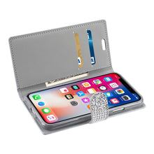 Load image into Gallery viewer, Reiko Iphone X Diamond Rhinestone Wallet Case In Silver