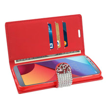 Load image into Gallery viewer, Reiko Lg G6 Diamond Rhinestone Wallet Case In Red