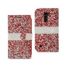 Load image into Gallery viewer, Reiko Lg K10 Jewelry Rhinestone Wallet Case In Red