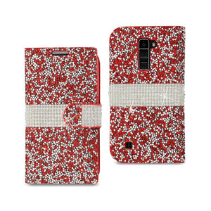Reiko Lg K10 Jewelry Rhinestone Wallet Case In Red