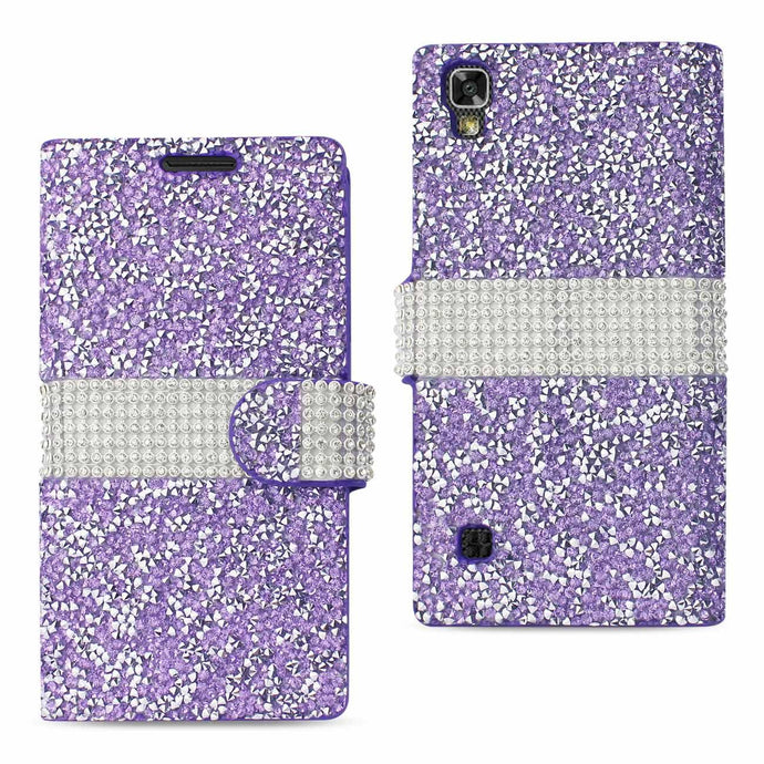 Reiko Lg X Power- K6 Diamond Rhinestone Wallet Case In Purple