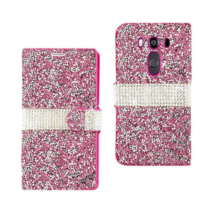 Reiko Lg V10 Jewelry Rhinestone Wallet Case In Pink