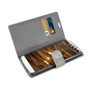 Reiko Lg V10 Jewelry Rhinestone Wallet Case In Silver