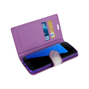 Reiko Samsung Galaxy S7 Edge Diamond Rhinestone Wallet Case In Purple