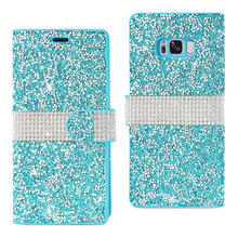 Load image into Gallery viewer, Reiko Samsung Galaxy S8 Edge Diamond Rhinestone Wallet Case In Blue