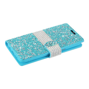 Reiko Samsung Galaxy S8 Edge Diamond Rhinestone Wallet Case In Blue