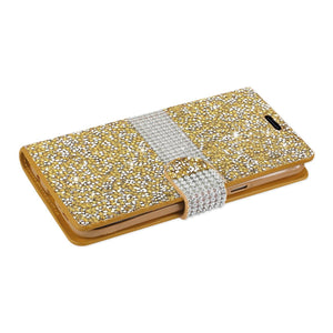 Reiko Samsung Galaxy S8 Edge- S8 Plus Diamond Rhinestone Wallet Case In Gold