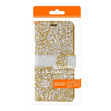 Load image into Gallery viewer, Reiko Samsung Galaxy S8 Edge- S8 Plus Diamond Rhinestone Wallet Case In Gold