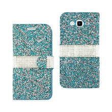 Load image into Gallery viewer, Reiko Samsung Galaxy Grand Prime Jewelry Rhinestone Wallet Case In Blue