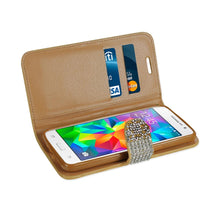 Load image into Gallery viewer, Reiko Samsung Galaxy Grand Prime Jewelry Rhinestone Wallet Case In Gold