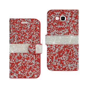 Reiko Samsung Galaxy Grand Prime Jewelry Rhinestone Wallet Case In Red
