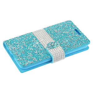 Reiko Samsung Galaxy J3 Emerge Diamond Rhinestone Wallet Case In Blue