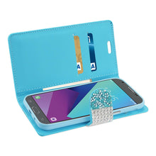 Load image into Gallery viewer, Reiko Samsung Galaxy J3 Emerge Diamond Rhinestone Wallet Case In Blue