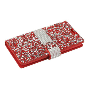Reiko Samsung Galaxy J3 Emerge Diamond Rhinestone Wallet Case In Red