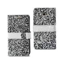 Load image into Gallery viewer, Reiko Samsung Galaxy J7 Jewelry Rhinestone Wallet Case In Black