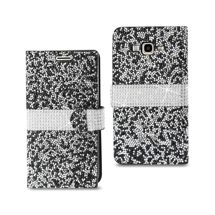 Reiko Samsung Galaxy J7 Jewelry Rhinestone Wallet Case In Black