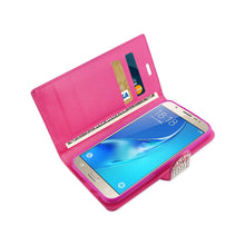 Load image into Gallery viewer, Reiko Samsung Galaxy J7 Jewelry Rhinestone Wallet Case In Pink