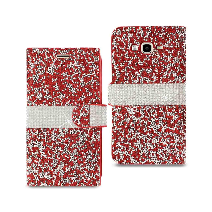 Reiko Samsung Galaxy J7 Jewelry Rhinestone Wallet Case In Red