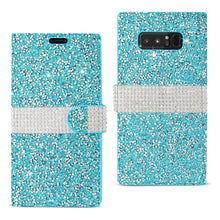 Load image into Gallery viewer, Reiko Samsung Galaxy Note 8 Diamond Rhinestone Wallet Case In Blue