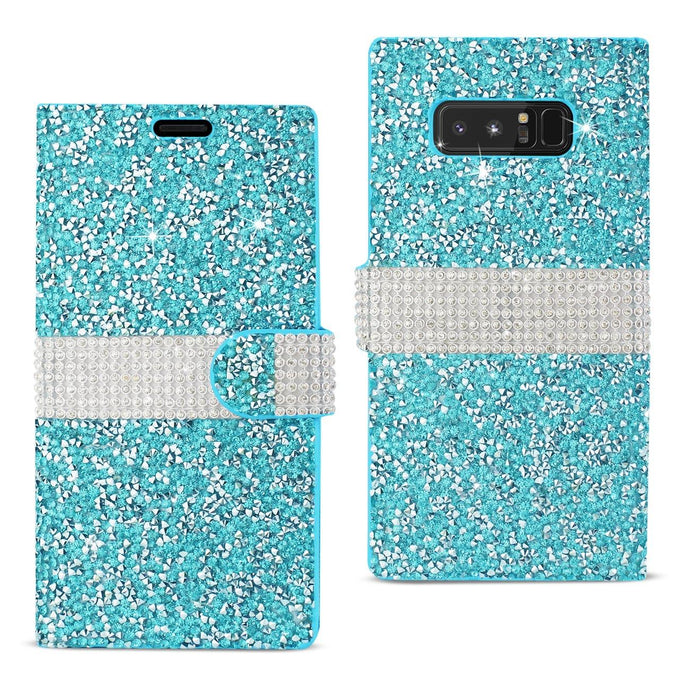 Reiko Samsung Galaxy Note 8 Diamond Rhinestone Wallet Case In Blue