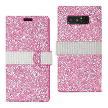 Load image into Gallery viewer, Reiko Samsung Galaxy Note 8 Diamond Rhinestone Wallet Case In Pink