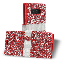 Load image into Gallery viewer, Reiko Samsung Galaxy Note 8 Diamond Rhinestone Wallet Case In Red
