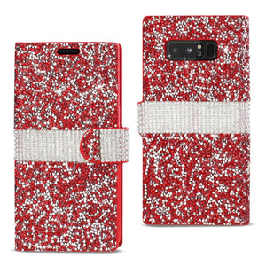 Reiko Samsung Galaxy Note 8 Diamond Rhinestone Wallet Case In Red