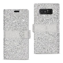 Load image into Gallery viewer, Reiko Samsung Galaxy Note 8 Diamond Rhinestone Wallet Case In Silver