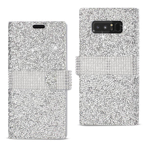 Reiko Samsung Galaxy Note 8 Diamond Rhinestone Wallet Case In Silver