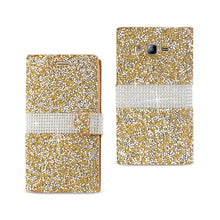 Load image into Gallery viewer, Reiko Samsung Galaxy On5- J5 Diamond Rhinestone Wallet Case In Gold