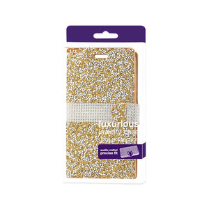 Reiko Samsung Galaxy On5- J5 Diamond Rhinestone Wallet Case In Gold