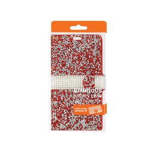 Reiko Samsung Galaxy S6 Jewelry Rhinestone Wallet Case In Red