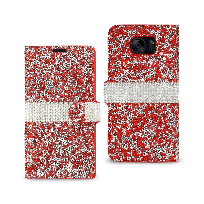 Reiko Samsung Galaxy S7 Jewelry Rhinestone Wallet Case In Red