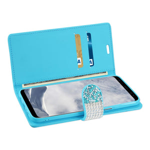 Reiko Samsung Galaxy S8- Sm Diamond Rhinestone Wallet Case In Blue