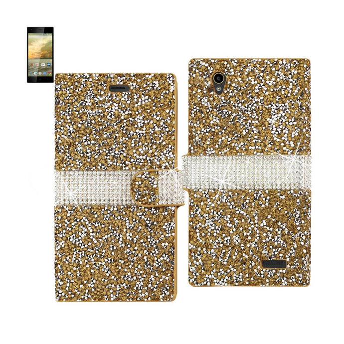 Reiko Zte Warp Elite Jewelry Rhinestone Wallet Case In Gold