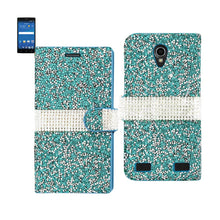 Load image into Gallery viewer, Reiko Zte Zmax 2 Jewelry Rhinestone Wallet Case In Blue
